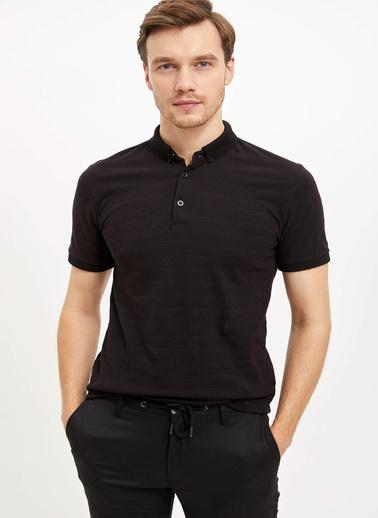 DeFacto Çizgili Slim Fit Polo T-shirt Siyah